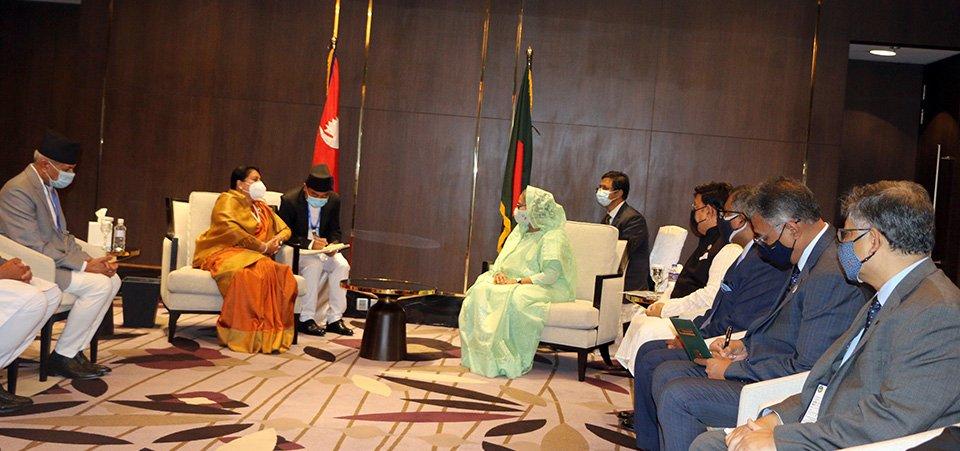 राष्ट्रपति भण्डारीसँग बङ्गलादेशी प्रधानमन्त्रीको भेटवार्ता